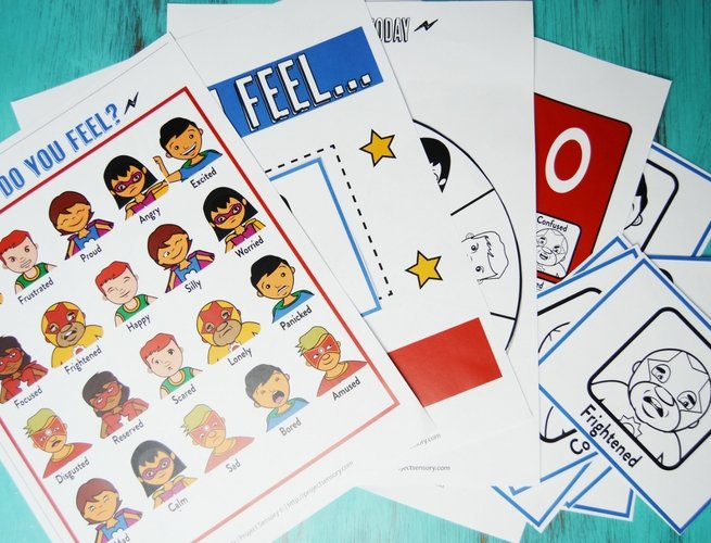 Superheroes Emotions Kit Printable Pack